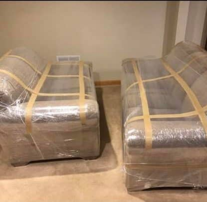 Plastic Wrapped furniture for a move