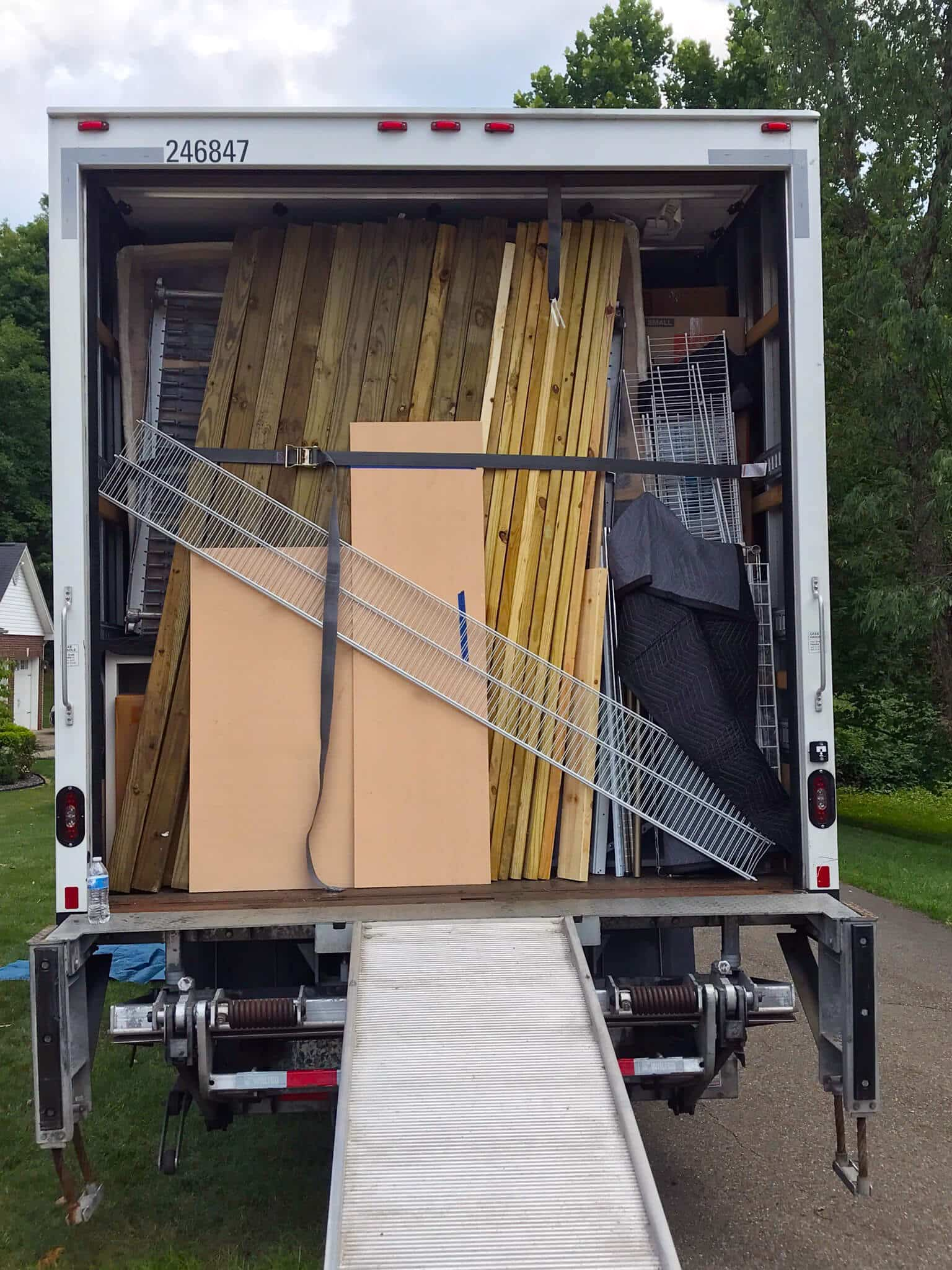 Packed Truck full of wood and sire shelves