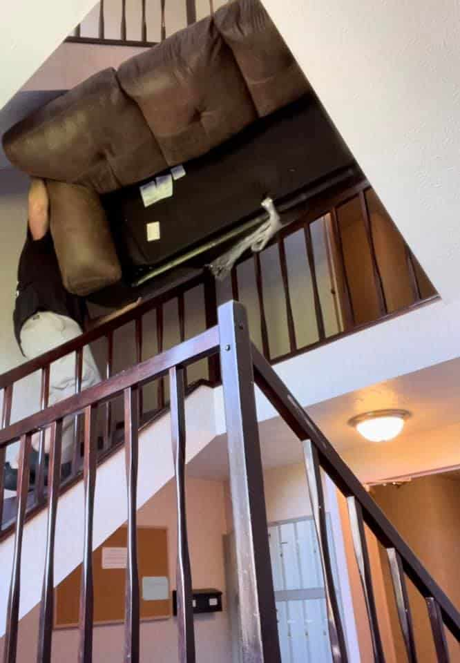 Moving a Couch Down a 3 Story Stairwell